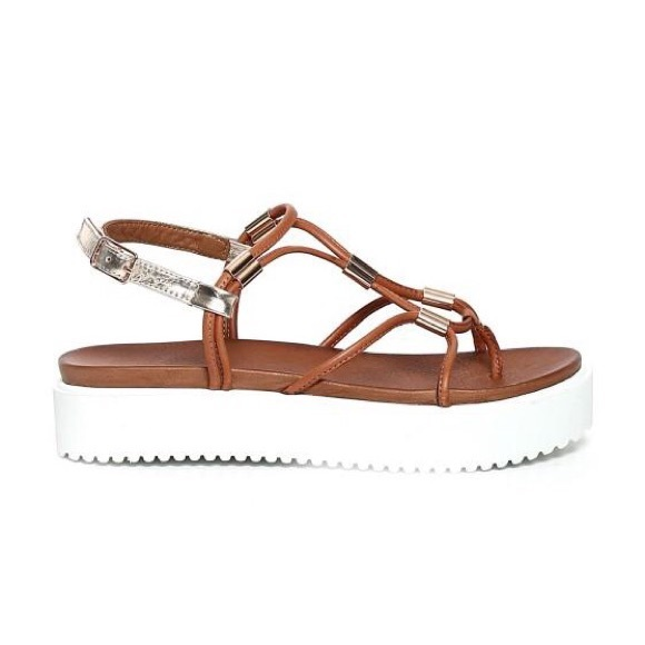 separation shoes 8e29d e1f40 Inuovo Brown Leather Platform Sandals